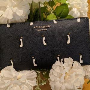 KATE SPADE Navy Penguin Leather LG Slim Wallet